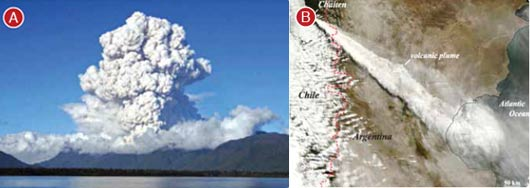 Fig. 2: a) Eruption column at beginning of May 2008 Chaiten eruption in Chile, b) Chaiten eruption produced volcanic plume that was dispersed hundreds of kilometres downwind of volcano into Argentina