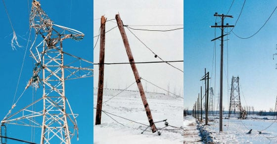 Signs of destruction across Hydro-Québec's transmission and distribution networks