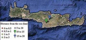 Fig. 1: Typical distances from the coast of power infrastructure on Crete. test station Expanded Test Station Helps Greek Power System Operator Assess Insulator Design & Performance Topic 1 Apr 6 f1 300x138