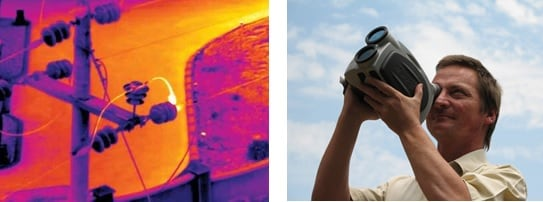 Infrared camera inspection (Photo: Courtesy FLIR). Combined ultraviolet, infrared and visible camera inspection. inspection line Comparing UV & IR Inspection of Lines & Substations Infrared camera inspection