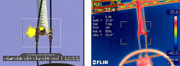 Fig. 12: UVc overlaid onto visible image showing two corona sources: dry band and discharge from a protrusion. Discharge is offset to left due to wind. Fig. 13: Thermal image showing slight heat source. inspection line Comparing UV & IR Inspection of Lines & Substations UVc overlaid onto visible image