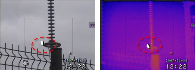 Ultraviolet and infrared red recording of discharge activity at corona ring. inspection line Comparing UV & IR Inspection of Lines & Substations Ultraviolet and infrared red recording