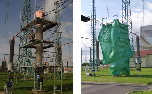 erected around transformer and shielded from wind. rtv silicone coating Applying RTV Silicone Coatings to Restore Degraded Composite Housings Scaffold erected around transformer