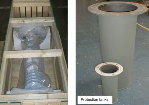 Storage bag for whole bushing (left) and protection tank for oil part end. bushings Evaluating Reliability of Bushings & Related Case Histories fg 300x213