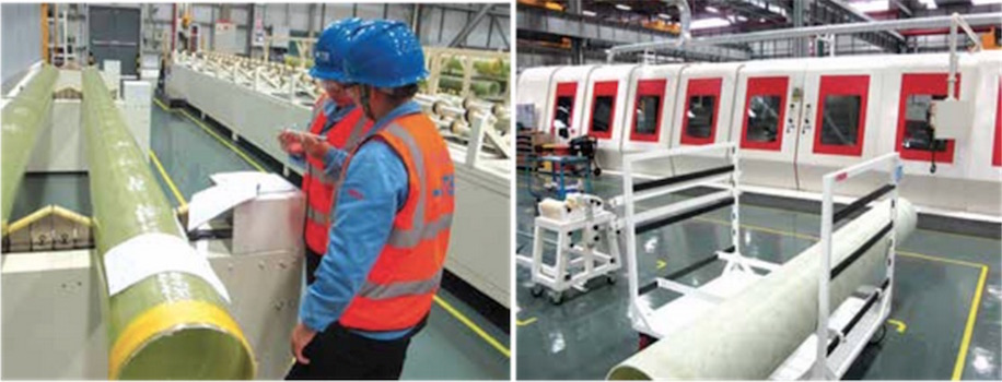 Tubes checked for dimensional accuracy after curing before being transferred to be trimmed and machined. new plant targets growing market for composite hollow core insulators New Plant Targets Growing Market for Composite Hollow Core Insulators erhgfw
