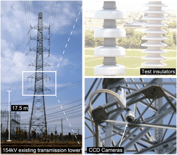 Fig. 2: Outlook of transmission tower at Niitsu observation site and installed test insulators and CCD cameras. flashover voltage Evaluating Flashover Voltage Properties of Snow Accreted Transmission Insulators Screen Shot 2016 02 26 at 10