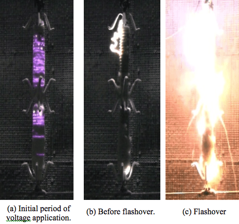 Fig. 16: Discharge activity during voltage test with long-rod insulator. flashover voltage Evaluating Flashover Voltage Properties of Snow Accreted Transmission Insulators Screen Shot 2016 02 26 at 11