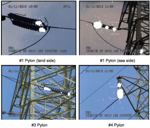 Examples of corona observed during daytime. assessing condition of line insulators in korea, insulator, results, testing, inmr Assessing Condition of Line Insulators in Korea Screen Shot 2016 03 03 at 3