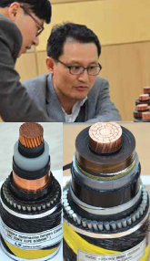 Park (top left) and Kim examine sections of two generations of ± 250 kV HVDC cable systems from 1996 (left) and 2012 (above). jeju island Network on Jeju Island Supports Testing of Power Technologies Screen Shot 2016 03 18 at 4