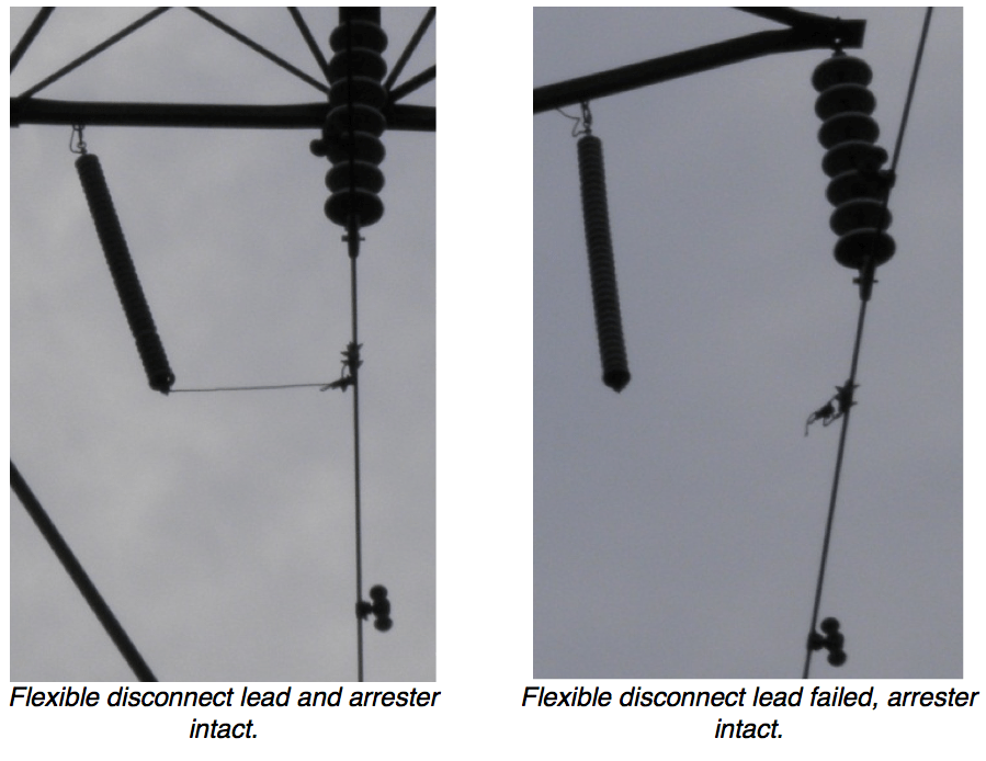 Fig. 17: Typical failure of disconnect lead after 7 years of service. vibration damper Interaction of Line Surge Arresters with Vibration Dampers Screen Shot 2016 04 01 at 1