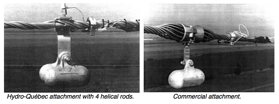 Fig. 14: Galloping de-tuning pendulum with vibration recorder and commercial attachment. vibration damper Interaction of Line Surge Arresters with Vibration Dampers Screen Shot 2016 04 01 at 12