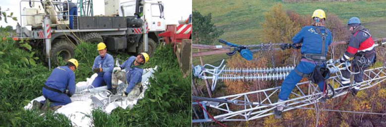 (Left) Assembly of silicone insulators and hardware on site is typically performed on special ground sheets to protect them from dirt and damage from rocks. (Right) Installation of 220 kV composite tension string. gis substation 400 kV Line & GIS Substation Signaled Major New Investments in Czech Power Grid Screen Shot 2016 04 07 at 11