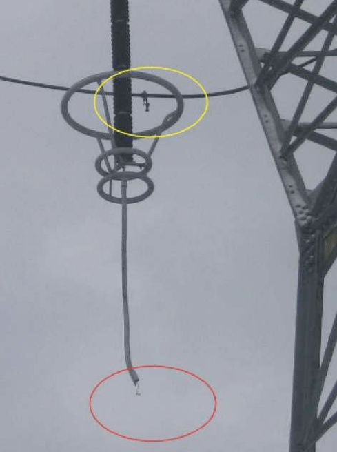 Line arrester separated from phase on a tower. [object object] Application Experience with Transmission Line Arresters Screen Shot 2016 04 15 at 3