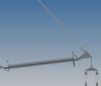 Figure 12: 420 kV braced V insulator set with armour rod suspension used in the 4 x 380 kV Wintrack towers (cf. Figure 8) experience in the netherlands with wintrack aesthetic transmission tower designs Experience in The Netherlands with Wintrack Aesthetic Transmission Tower Designs Screen Shot 2016 04 22 at 10