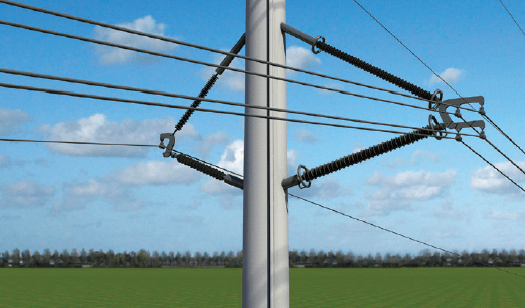 Figure 8: 420 kV braced V insulator set with C-arm used in the original Wintrack design experience in the netherlands with wintrack aesthetic transmission tower designs Experience in The Netherlands with Wintrack Aesthetic Transmission Tower Designs Screen Shot 2016 04 22 at 9