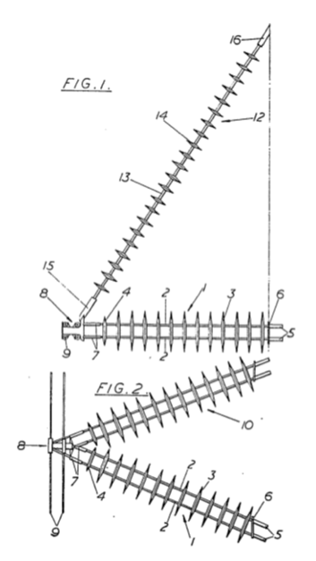 Fig. 6: Three-dimensional composite cross-arm first proposed in 1964 (side view above, plan below). cross-arms Composite Insulating Cross-Arms for 400 kV Lattice Towers Screen Shot 2016 04 29 at 1