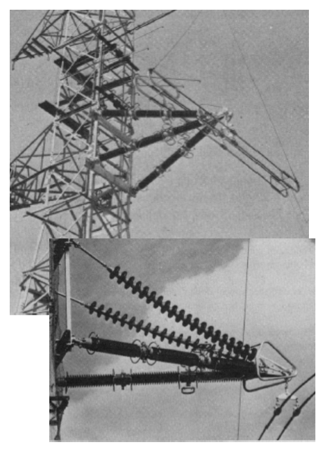Fig. 7: Implementation of two versions of ceramic cross-arm (1971).  cross-arms Composite Insulating Cross-Arms for 400 kV Lattice Towers Screen Shot 2016 04 29 at 1