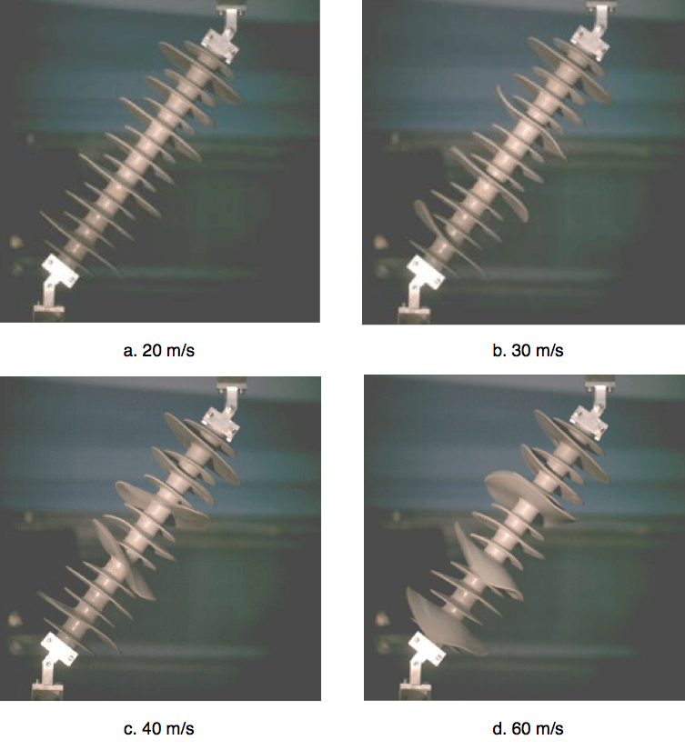 Fig. 4: Dynamic process of insulator sheds at different wind speeds. composite insulator Shed Tearing on Composite Insulators in Service Areas with High Wind Screen Shot 2016 05 27 at 2