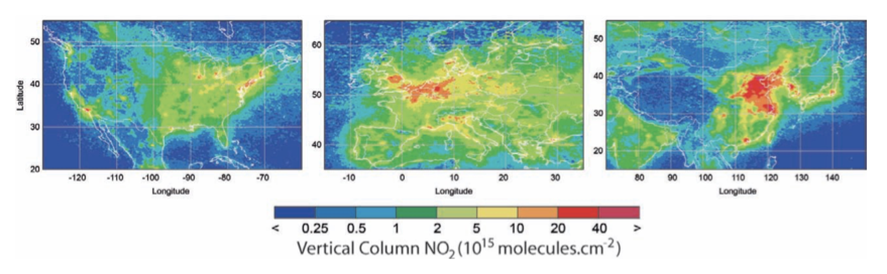 Fig. 14: Annual average of SCIAMACHY estimates for NO2 concentration for 2009. Ground pixels are 60 x 30 km. selecting insulators using satellite measurements of air pollution Selecting Insulators Using Satellite Measurements of Air Pollution Screen Shot 2016 06 02 at 4