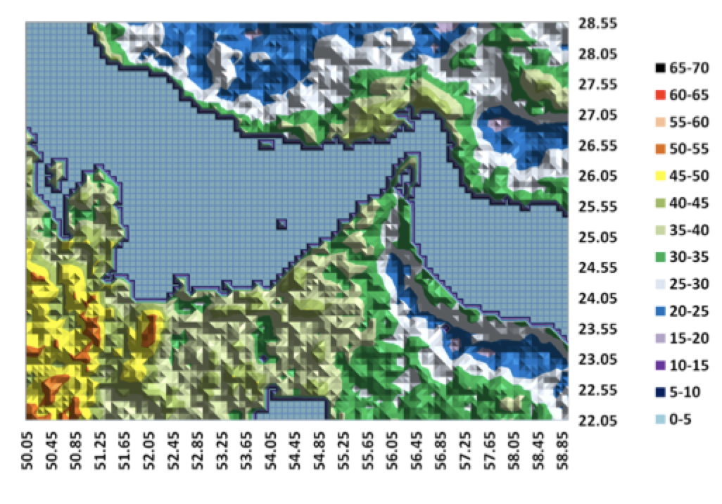Fig. 17: PM2.5 , μg/m3 corrected to 50% RH, 2001 to 2006 average, UAE2 study area, Dalhousie data. selecting insulators using satellite measurements of air pollution Selecting Insulators Using Satellite Measurements of Air Pollution Screen Shot 2016 06 02 at 4