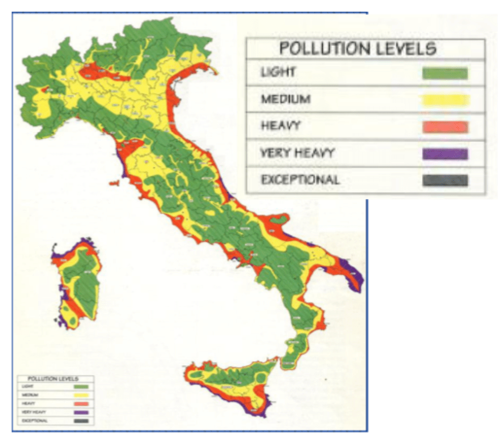 Fig. 20: Insulator pollution map of Italy. selecting insulators using satellite measurements of air pollution Selecting Insulators Using Satellite Measurements of Air Pollution Screen Shot 2016 06 02 at 4