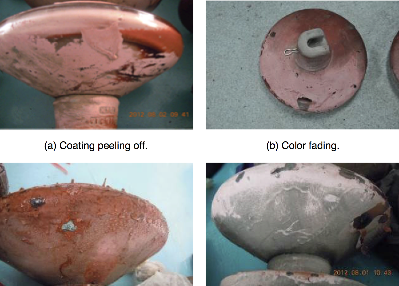 Fig. 2: Examples of degradation affecting RTV coated insulators. rtv coated insulators Repair & Re-Coating Techniques for Composite Housings & RTV Coated Insulators Screen Shot 2016 06 21 at 09