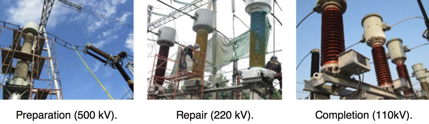 Fig. 6: Examples of repair process. rtv coated insulators Repair & Re-Coating Techniques for Composite Housings & RTV Coated Insulators Screen Shot 2016 06 21 at 09