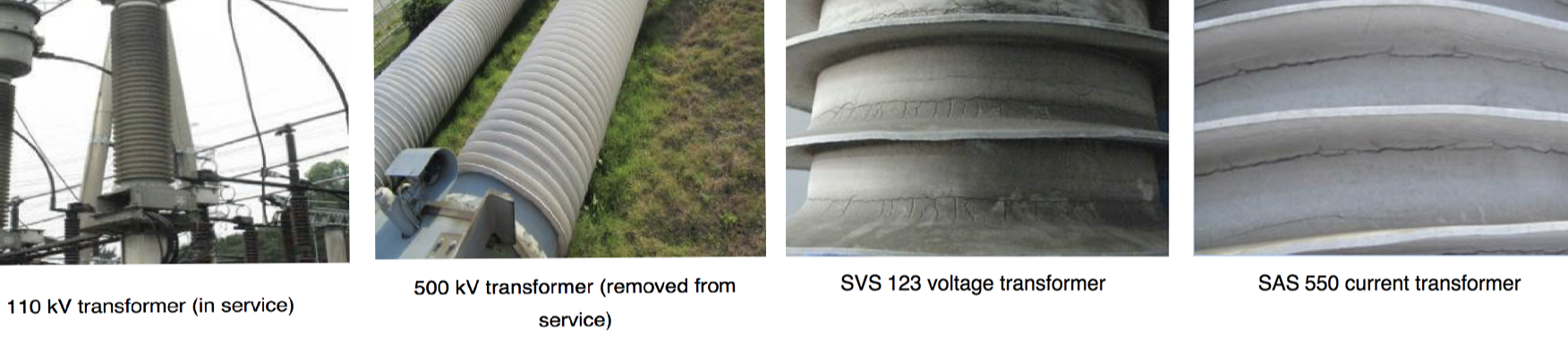 Fig. 1: Examples of damage seen on composite insulators made with LSR.  rtv coated insulators Repair & Re-Coating Techniques for Composite Housings & RTV Coated Insulators Screen Shot 2016 06 23 at 14