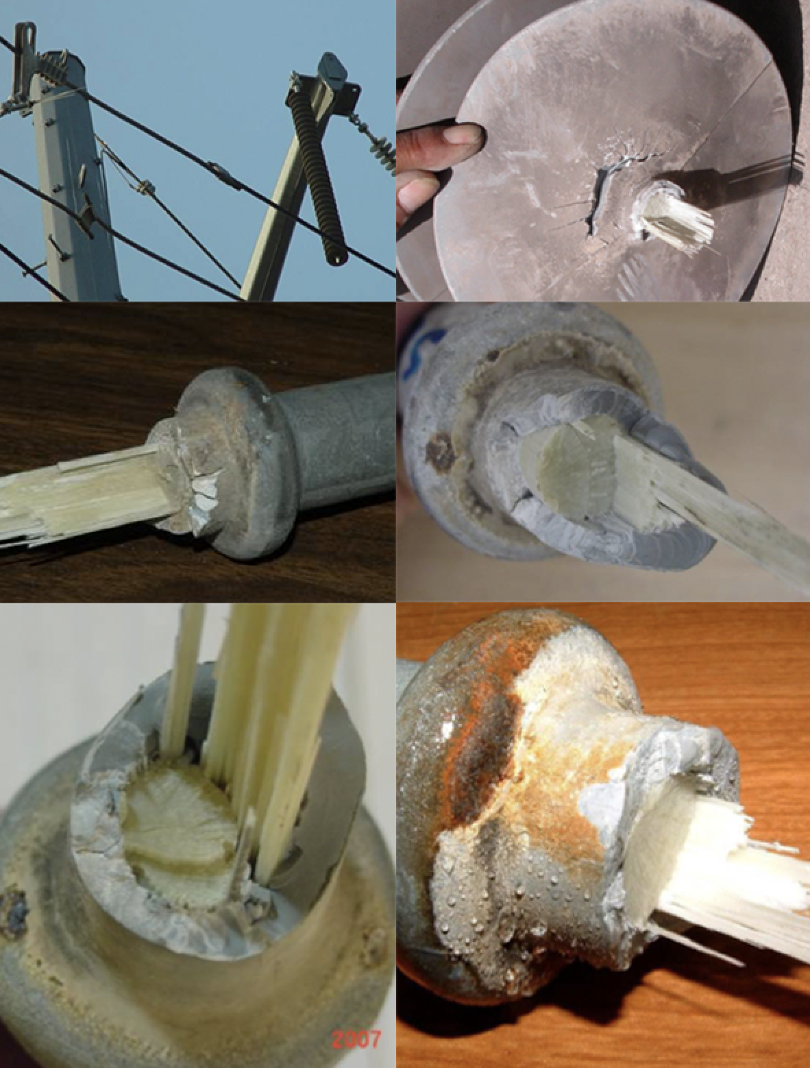 Fig. 6: Examples of fracture surfaces and one of failed insulators in-situ. epri Learning from Service Experience with Composite Line Insulators Screen Shot 2016 06 29 at 10
