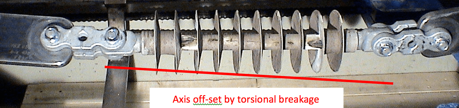 Fig. 1: Composite insulator electrically failed by combined flashover and flashunder caused by torsional rod crack.  composite insulator Handling of Composite Insulators Screen Shot 2016 08 12 at 16