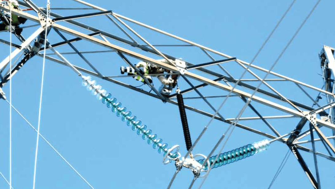 V-string on 300 kV tower extended by 4 additional glass discs using live working methods. voltage upgrade Norwegian TSO Re-Dimensioned Insulation in Voltage Upgrade Project Screen Shot 2016 09 16 at 12