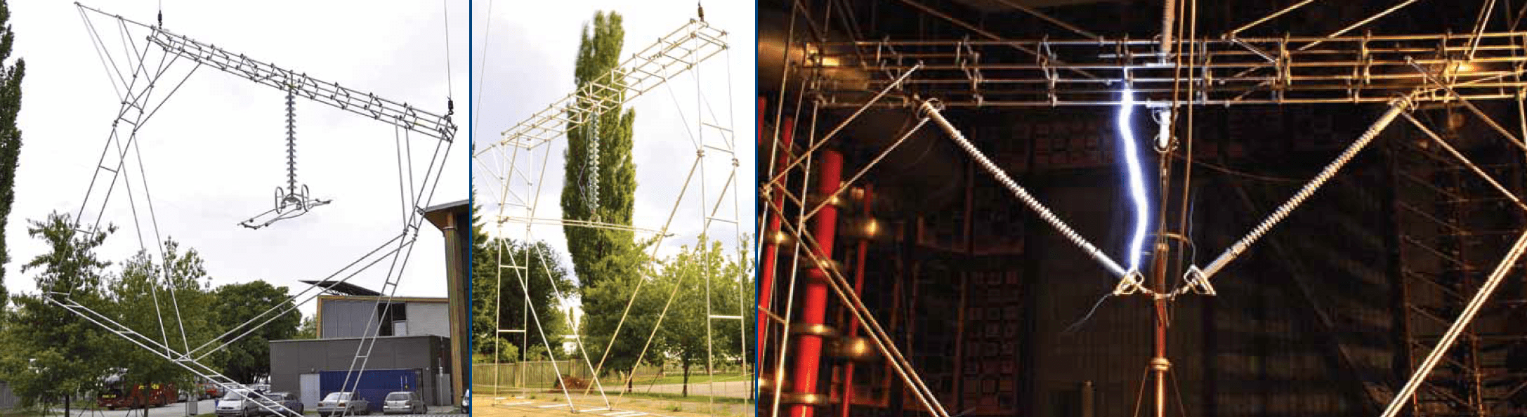 Fig. 5a: Tower window in upright position for testing flashover voltage across insulator string (top right). Fig. 5b: Tower window tilted for testing flashover voltage between conductor and tower leg or guy wire (top left). Fig. 5c: Full scale model of tension tower for flashover testing (bottom right). voltage upgrade Norwegian TSO Re-Dimensioned Insulation in Voltage Upgrade Project Screen Shot 2016 09 16 at 13