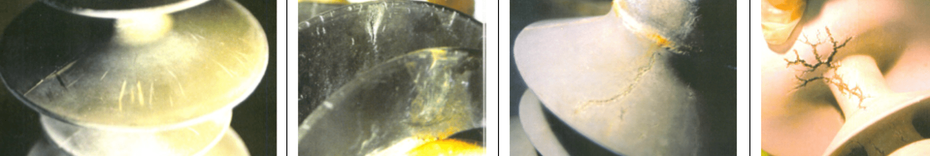 Fig. 2: Examples of insulator deterioration after 2000h ageing test under DC voltage. polymer Polymeric Materials for HV Insulators Screen Shot 2016 10 28 at 12