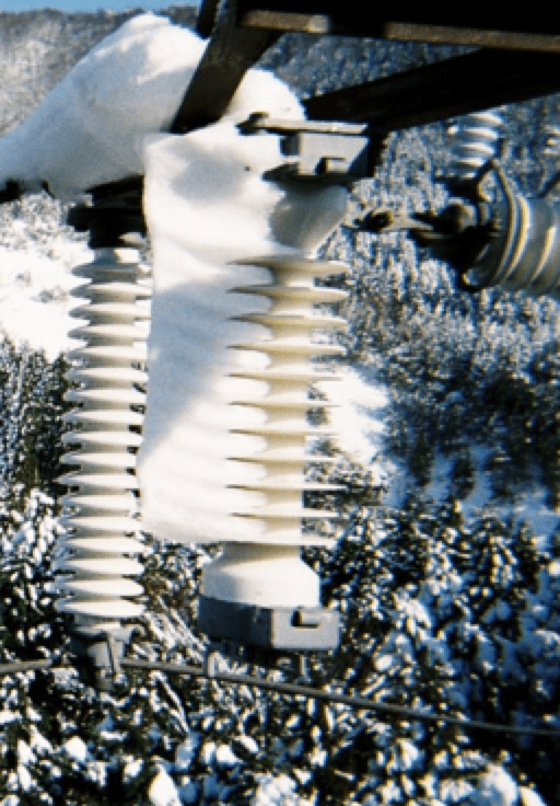 Example of packed snow on gap type arresters. insulator Selection of Insulators with Respect to Icing Screen Shot 2016 10 28 at 13