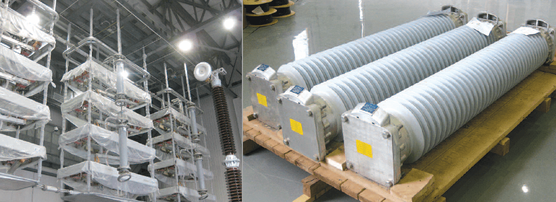 Valve hall features suspended arresters with polymeric housings. converter station UHV Converter Station Showcased Latest Equipment & Insulator Technologies Screen Shot 2016 10 28 at 16
