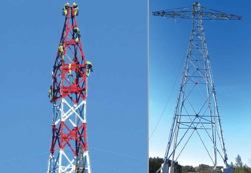 New tubular HVDC tower designed to handle differences in leg lengths of as much as 5 m (top). Bolt tightening follows strict predetermined sequence. [object object] Network Expansion at Norwegian TSO (Part 2 of 2) New tubular HVDC tower designed to handle differences in leg lengths of as much as 5 m top