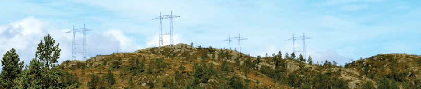 Towers for new 420 kV triplex line illustrate challenging terrain to be covered. [object object] Network Expansion at Norwegian TSO (Part 2 of 2) Towers for new 420 kV triplex line illustrate challenging terrain to be covered