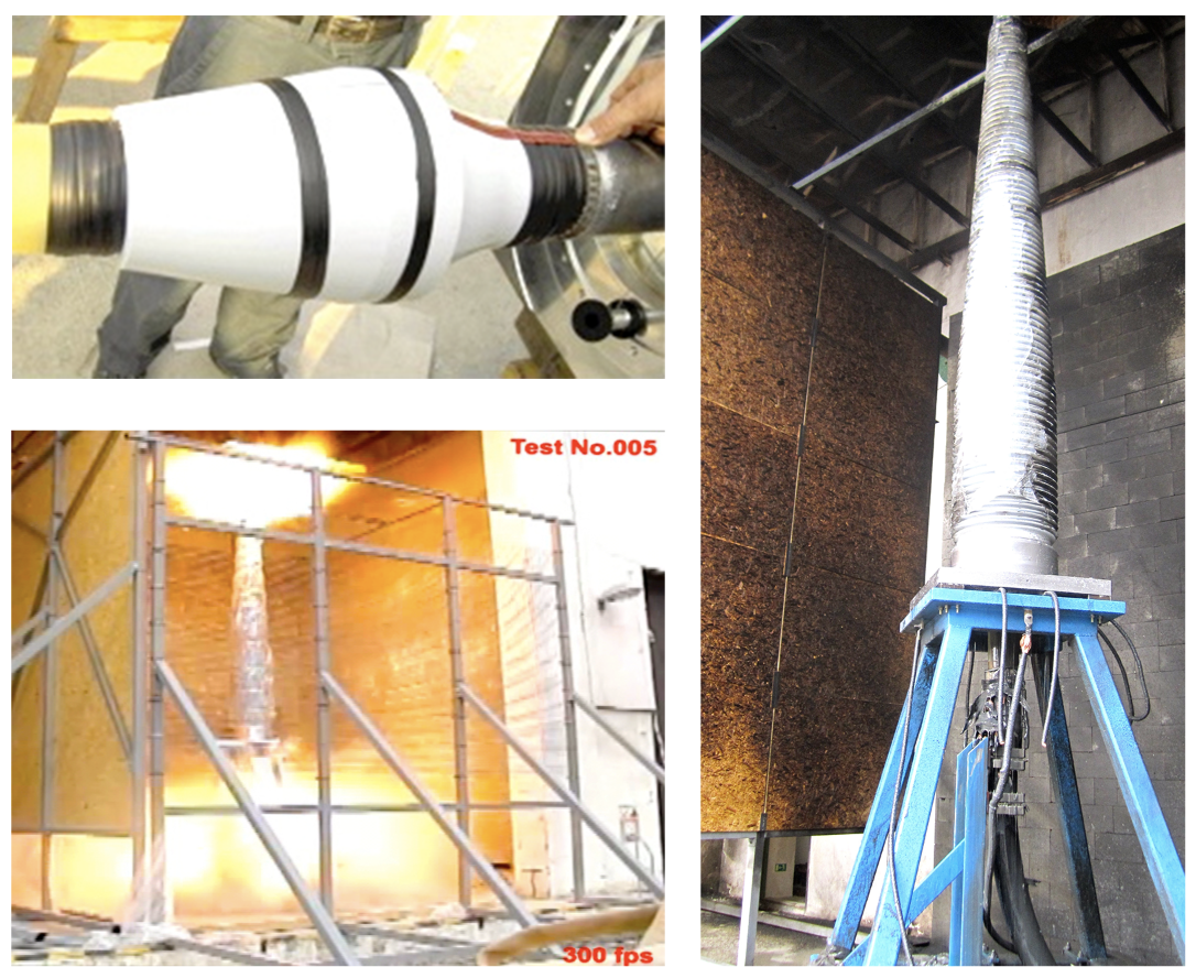 (top left) Placement of 1.5 mm 2 copper during assembly of termination for power arc testing. (bottom left) Internal power arc test of 420 kV outdoor termination. 420 kV outdoor termination after power arc test (right). Explosion-Resistant Cable Terminations cable termination Explosion-Resistant Cable Terminations left Placement of 1