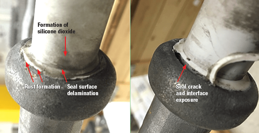Fig 3: Damage by permanent corona discharges located on insulator end fitting.