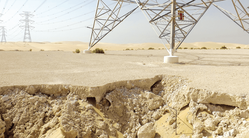 Examples of flooding and erosion in Saudi Arabia caused by unexpected torrential rains. energy security Maintenance Strategy Designed to Support Gulf Regional Energy Security Screen Shot 2017 09 08 at 13