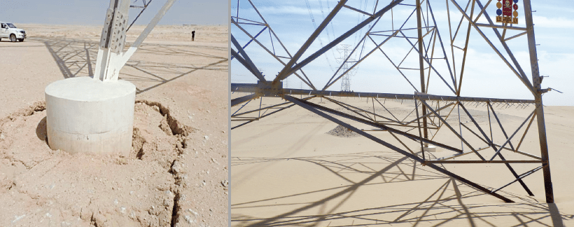 Example of sand dune build-up and landslides around tower footings. energy security Maintenance Strategy Designed to Support Gulf Regional Energy Security Screen Shot 2017 09 08 at 13