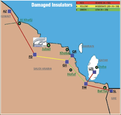 Fig. 7: Locations of shattered insulators. energy security Maintenance Strategy Designed to Support Gulf Regional Energy Security Screen Shot 2017 09 08 at 14