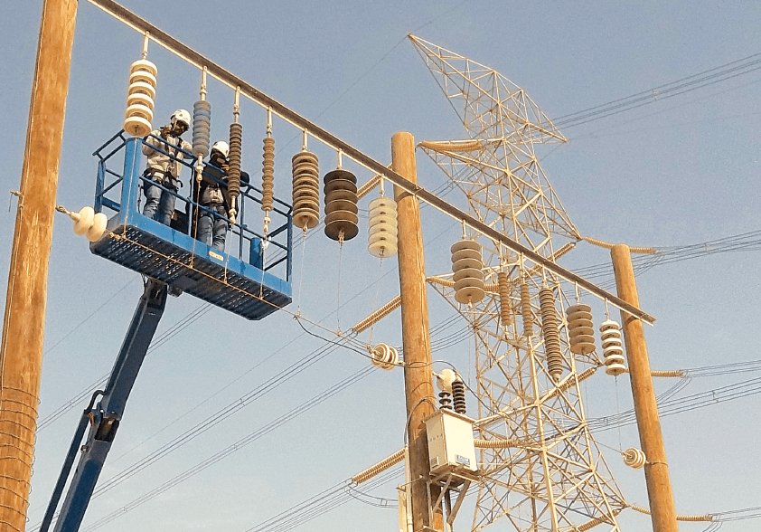 Insulators being inspected at Al-Fadhili Insulator Test Station Performance energy security Maintenance Strategy Designed to Support Gulf Regional Energy Security Screen Shot 2017 09 08 at 14