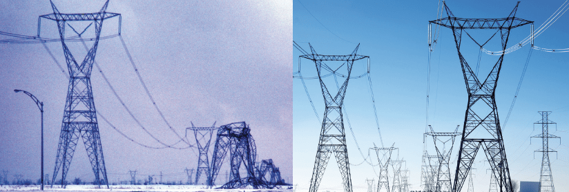 Toppled towers on 735 kV line in January 1998 (left) and same perspective today. line hardware Assessing Performance of Different Conductor & Line Hardware Configurations Screen Shot 2017 09 15 at 11
