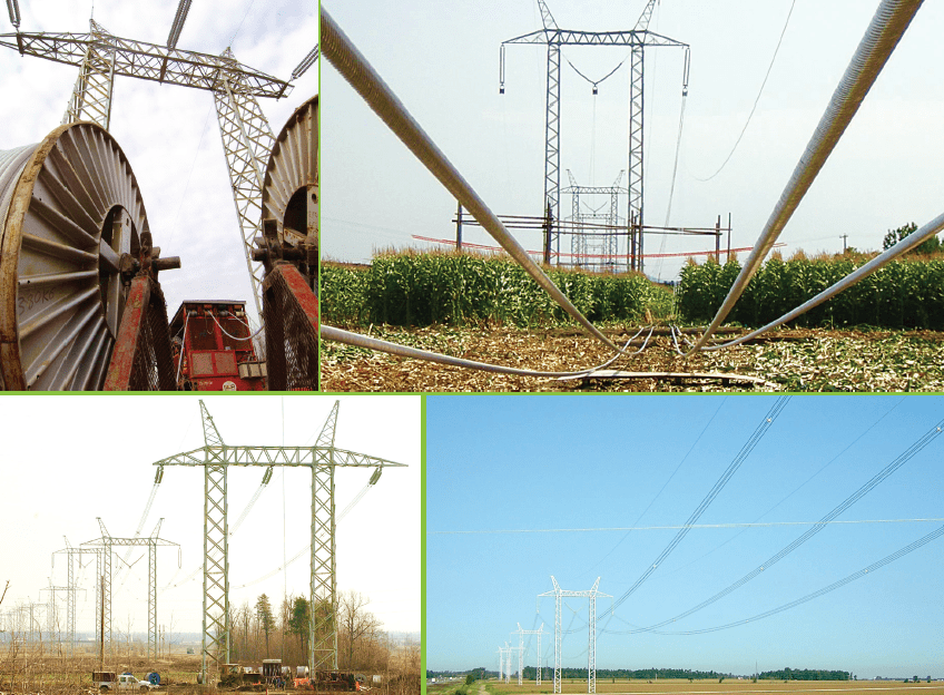 Stringing operations on 735 kV line built after ice storm of 1998 to reinforce network through new loop southeast of Montréal. line hardware Assessing Performance of Different Conductor & Line Hardware Configurations Screen Shot 2017 09 15 at 11