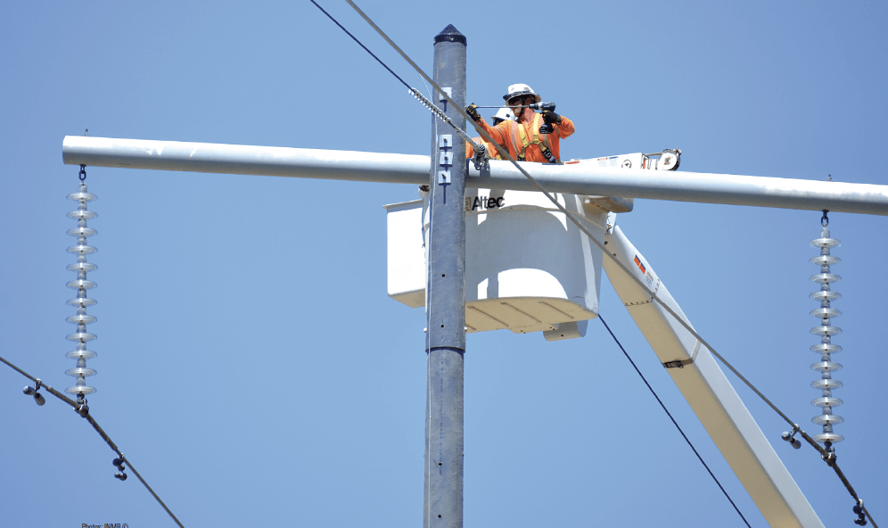 One of the issues of concern to FortisBC engineering staff is how 'friendly' composite poles are to drilling.