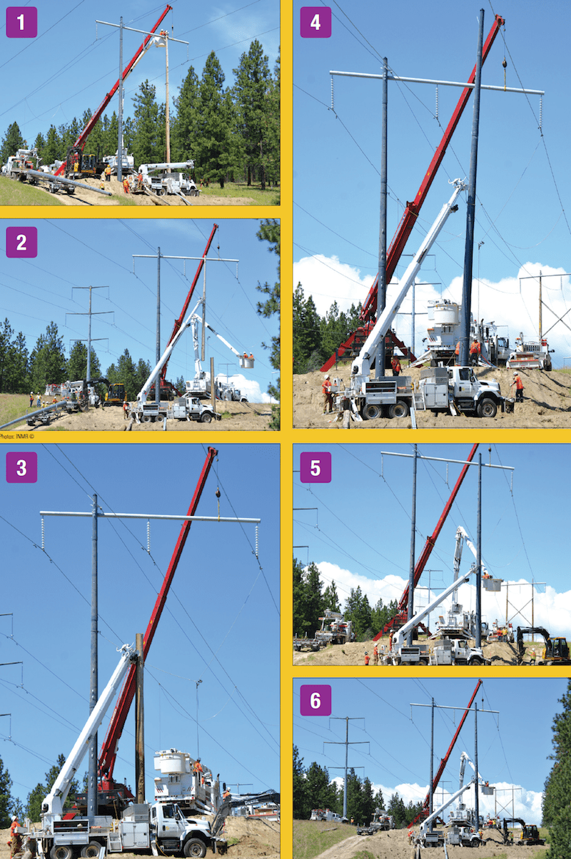Process to replace wood framing with composite poles. CLICK TO ENLARGE