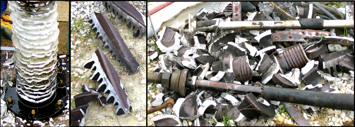 Examples of shattering of porcelain housings and oil leak on failed bushings. CLICK TO ENLARGE hv cable termination Safety Testing of HV Cable Terminations, Bushings & Arresters Screen Shot 2018 10 26 at 16
