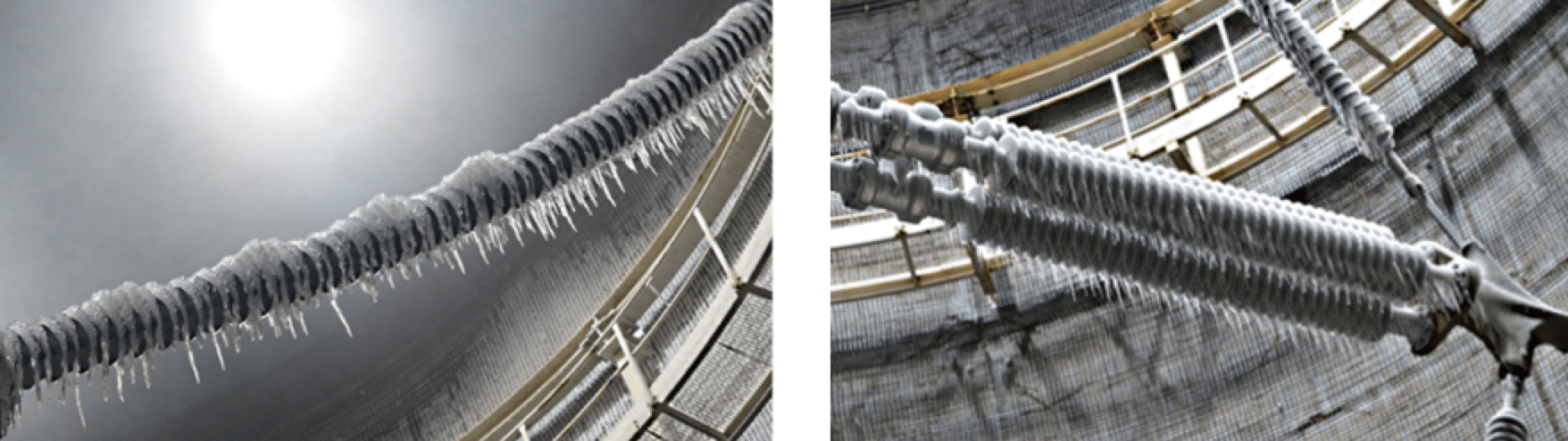 [object object] Verifying Corona, Pollution & Icing Performance of Insulation Structures Close up of insulators at end of ice accretion period