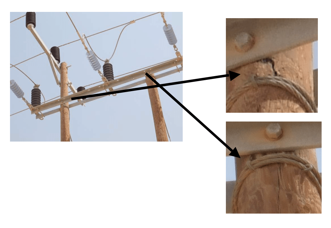 insulation Resolving Problems from Poor Insulation Performance in Desert Environments Localized severe tracking on pole that does not have bonded stays